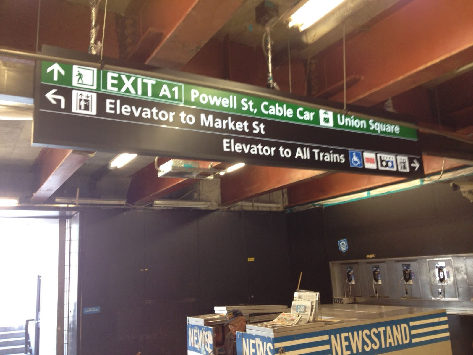 New signage at exit to Powell Street