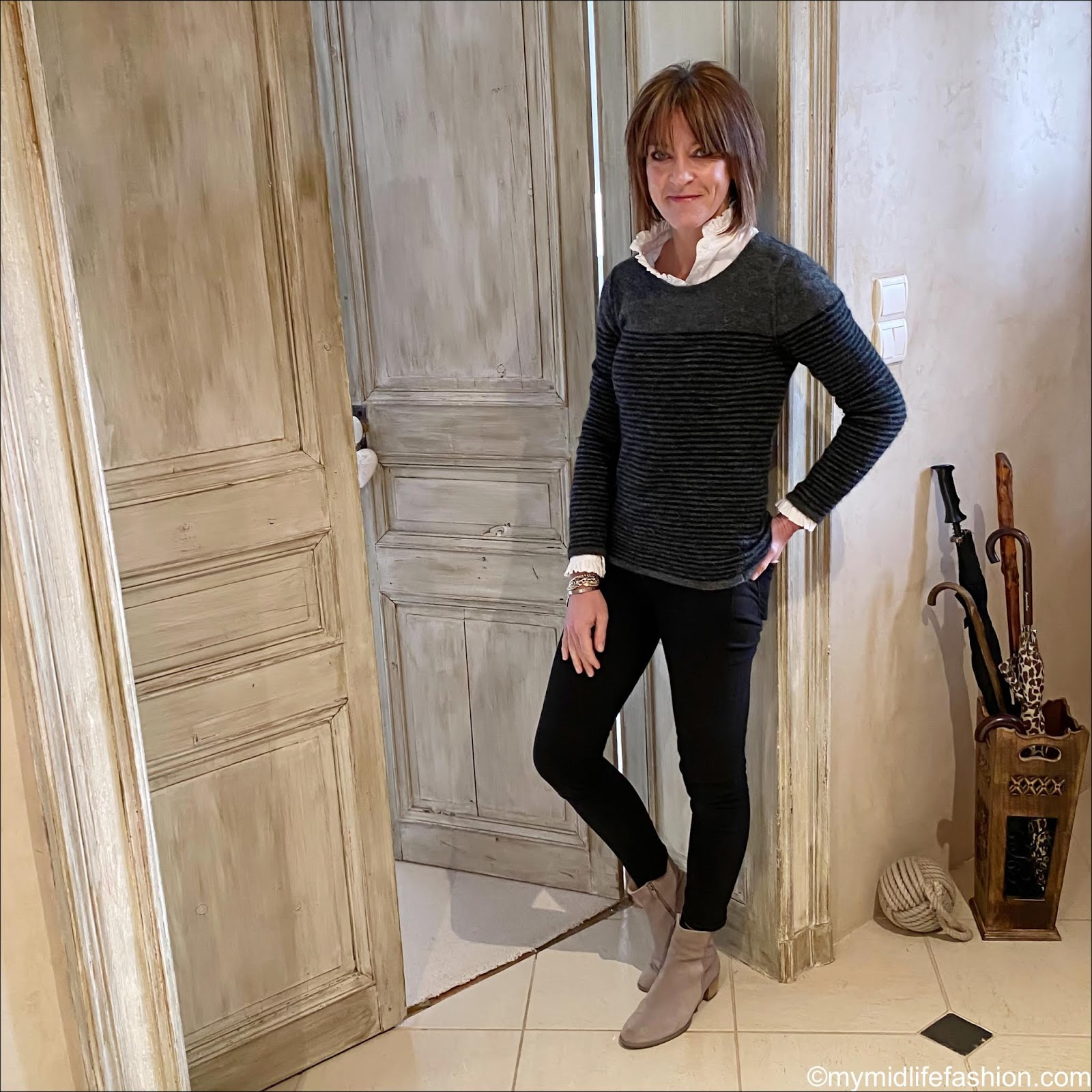 my midlife fashion, Uniqlo high frill collar shirt, Isabel Marant Etoile stripe crew neck jumper, j crew 8 inch toothpick jeans in true black, Ecco grey suede ankle boots