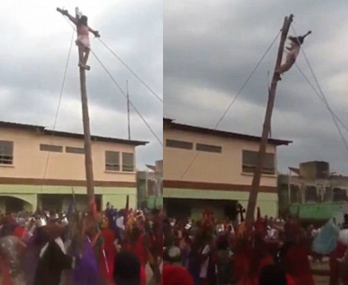 Flying Jesus falls 13ft off the cross during an easter