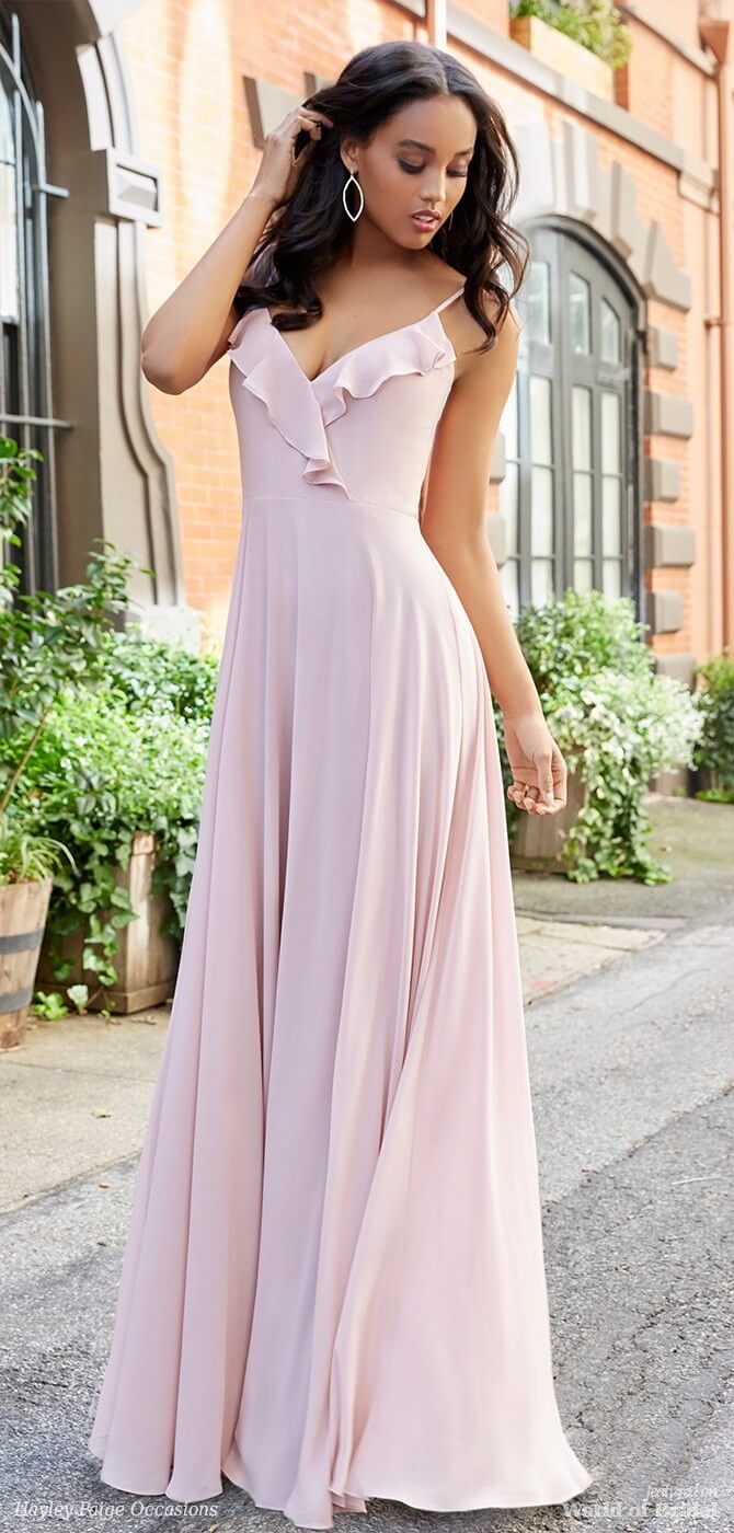 Hayley Paige Occasions Spring 2018 Dusty Rose Chiffon A-line bridesmaid gown