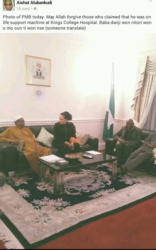 Picture of President Buhari allegedly taken today shows he is not dead
