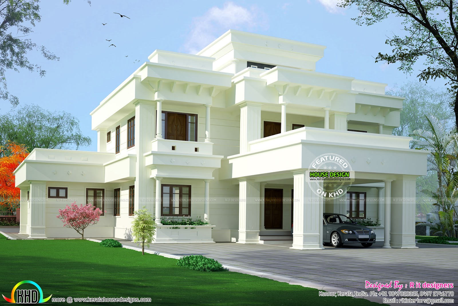 Elegant looking modern home architecture kerala home for Elegant farmhouse plans