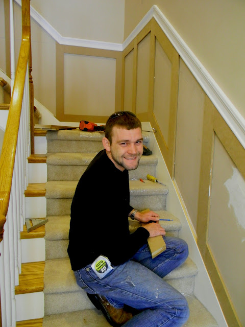 Lighting Basement Washroom Stairs: Forever Decorating!: Stairwell Wainscoting