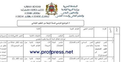 التوزيع السنوي الواضح في اللغة العربية المستوى الرابع المناهج الجديد