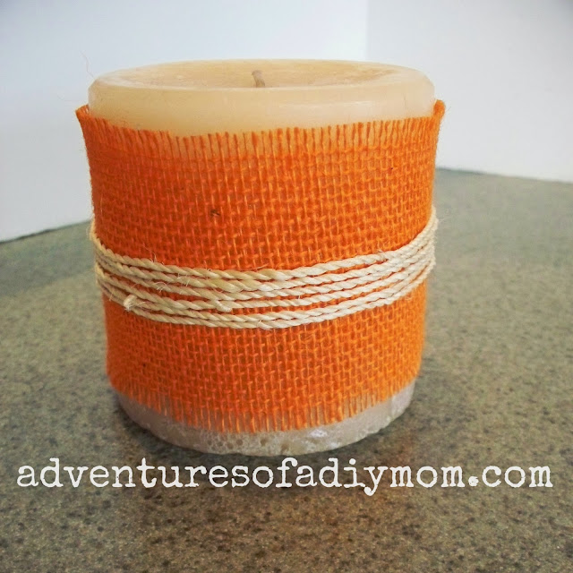 burlap and twine wrapped candle