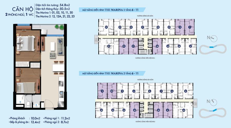 Mặt bằng căn 2PN-1WC-55m2 toà The Marina tầng 6-11 căn hộ River City
