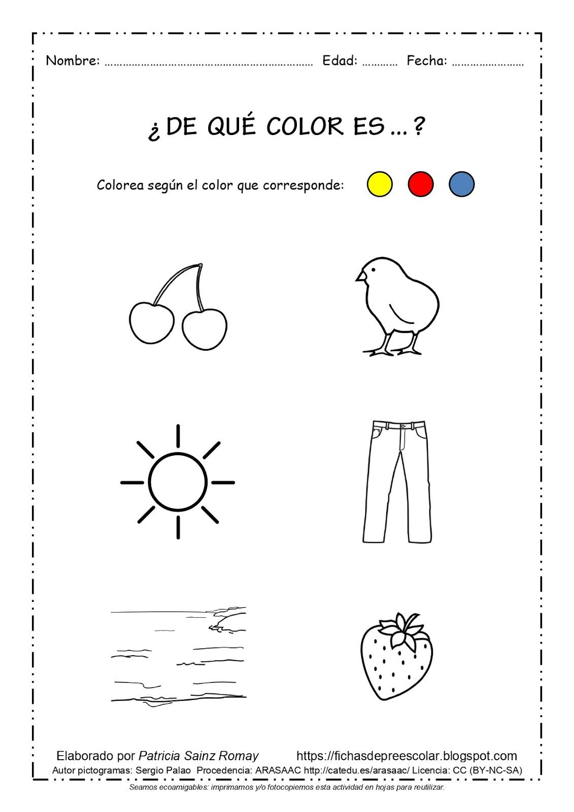 Fichas De Educación Preescolar De Qué Color Es Fichas Con