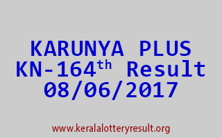 KARUNYA PLUS Lottery KN 164 Results 8-6-2017