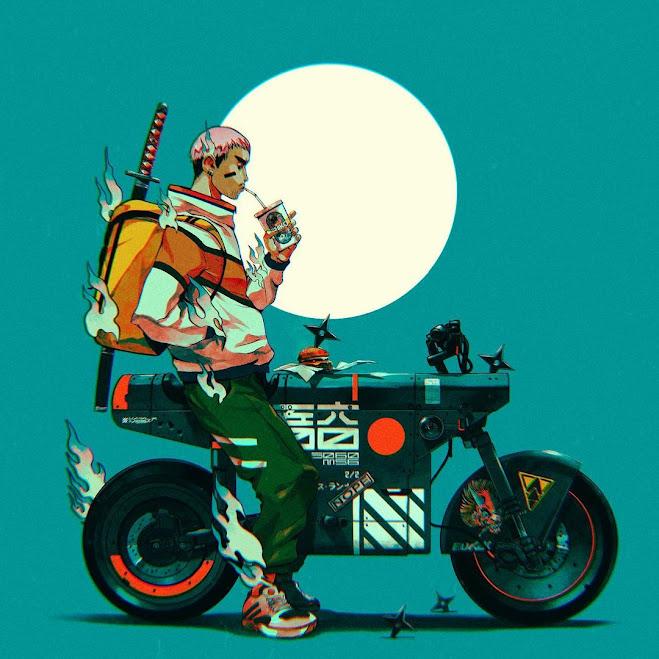 Cyberpunk Bosozoku Shuriken Scooter Illustration by Jor Ros
