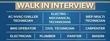 Recruitment For  Electrician, Painter, Plumber, HVAC Technician, Chiller Technician, AC Technician, Mason, Carpenter And More Positions For Dubai Locations