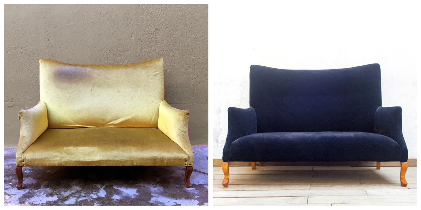 Sofá canapé de 2 plazas restaurado y tapizado en terciopelo negro.