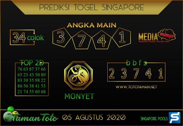 Prediksi Togel SINGAPORE TAMAN TOTO 05 AGUSTUS 2020