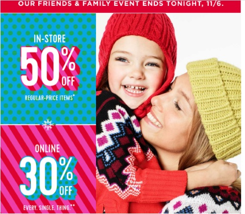 Old Navy Friends & Family Event 50% Off In-store & 30% Off Online