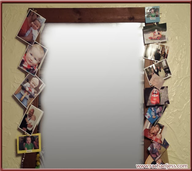 hang up photos with ribbon and pegs