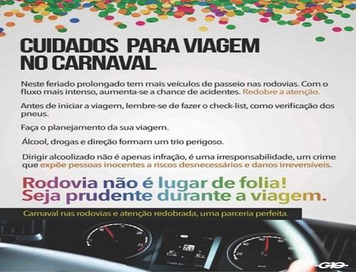 No carnaval, cuidado nas rodovias deve ser redobrado