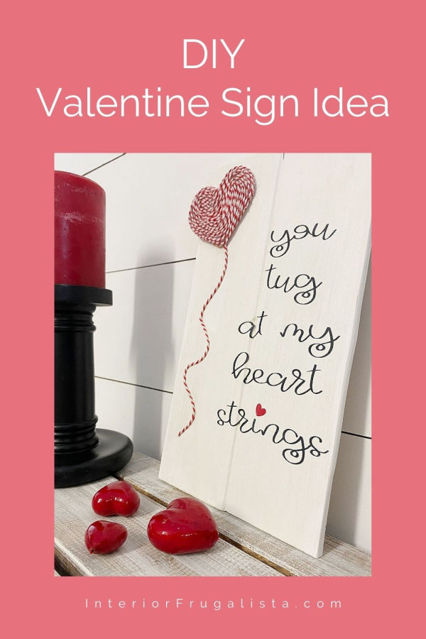 If you like easy peasy ideas for valentine's decor, then you'll love this! Plus, it's a great way to recycle scrap wood you may have kicking around. But even better, this easy valentine's day scrap wood sign costs next to nothing to make. #valentinedecor #valentinesign #diy