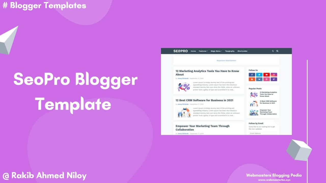 SeoPro Free Blogger Template - Webmasters Blogging Pedia