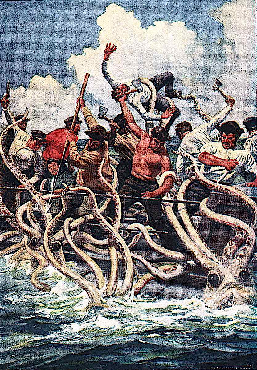 an Anton Otto Fischer illustration of giant octopus creatures attacking men in a boat