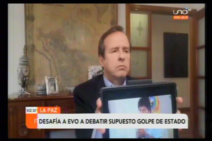 Tuto afirma que puede demostrarle a Evo que no fue golpe de Estado; dice que Morales escapó como cobarde