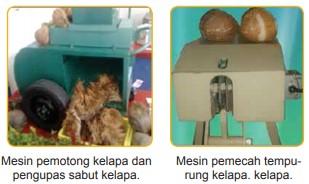 Mesin pemotong kelapa, pengupas sabut kelapa, dan pemecah tempurung kelapa