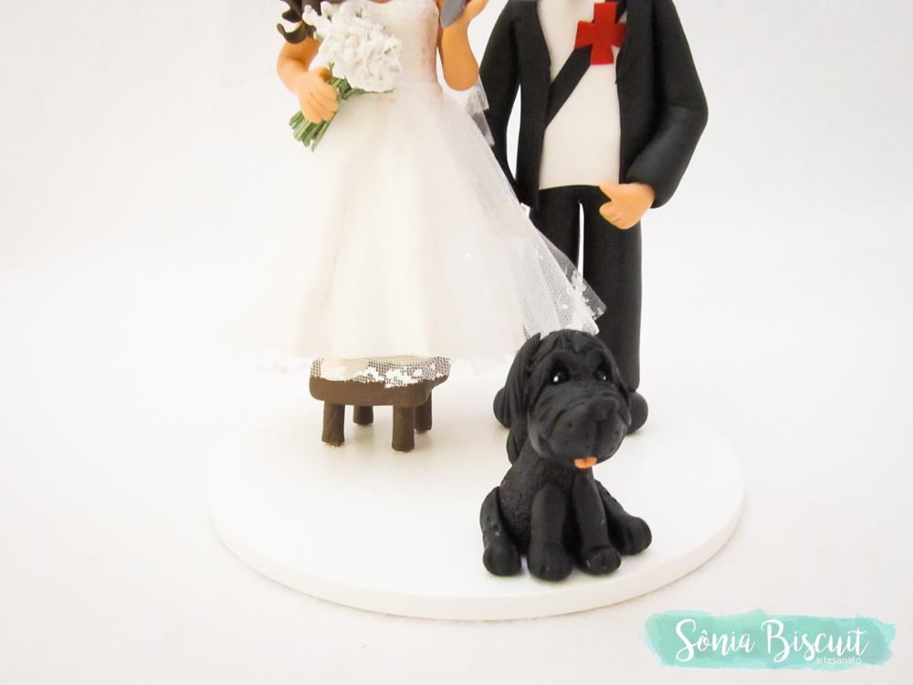 Noivinhos, Noivo, Topo de Bolo, Biscuit, Casamento, Porcelana Fria, Cachorrinho