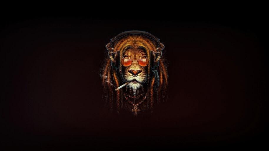 Lion, Smoking, Digital Art, Animal, 4K, #4.1979