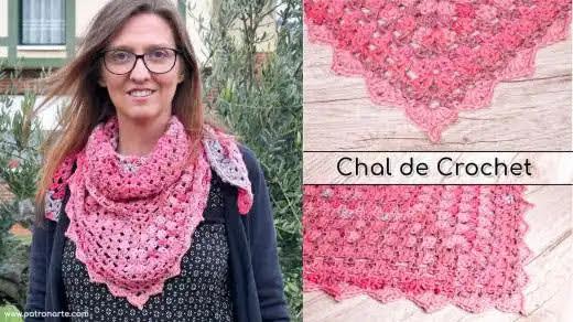 Bufanda o Chal Rosa a Crochet