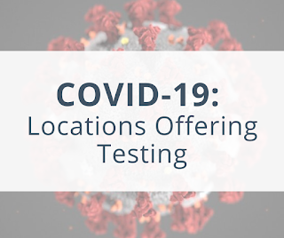 graphic of a coronavirus image with text of COVID 19 Locations Offering Testing