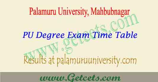 Palamuru University degree time table 2021, PU Results