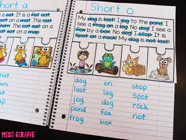 Short O example of phonics notebooks to build fluency and comprehension