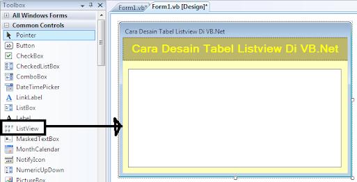 Desain Tabel Listview Di VB.Net,Mendesain Tabel Listview Di VB.Net Dengan Koding Program,Mendesain Tabel Listview Di VB.Net Tanpa Koding Program (Otomatis),