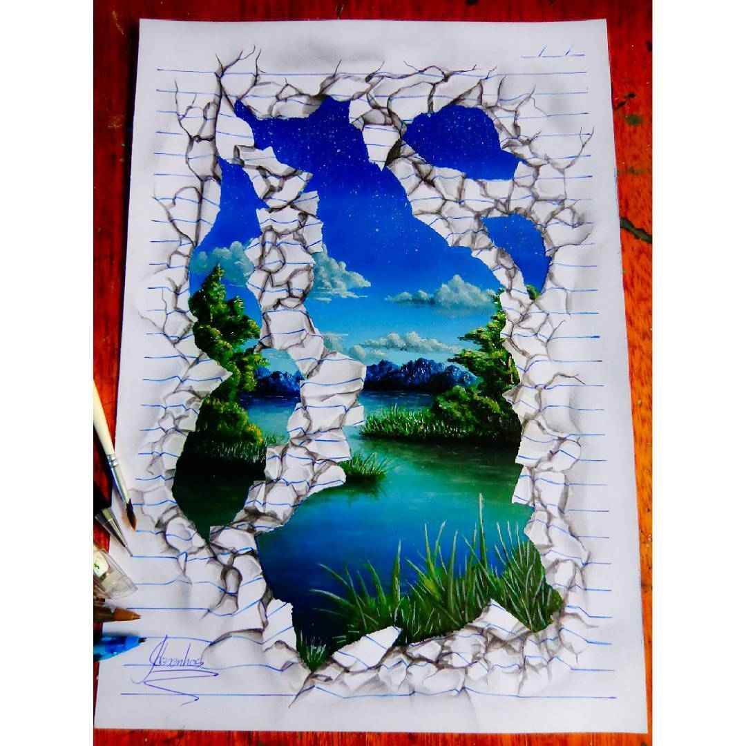 16-The-River-João-A-Carvalho-Drawing-and-Painting-3D-Optical-Illusions-see-the-Video-www-designstack-co