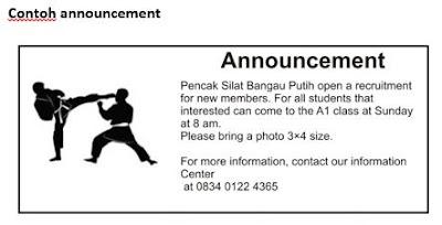 Short Message, Announcement Or Notices Materi Bahasa Inggris Kelas 8
