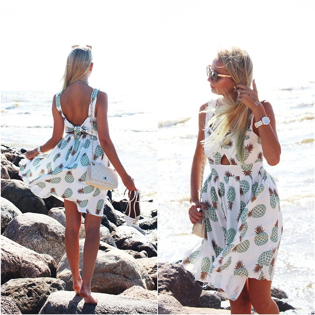 Zaful 2016 Summer V Neck Hollow Out Pineapple Print Dress