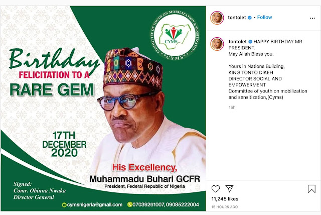 """""""Yours Is Nations Building"""" Tonto Dikeh Wishes Buhari Happy Birthday"""