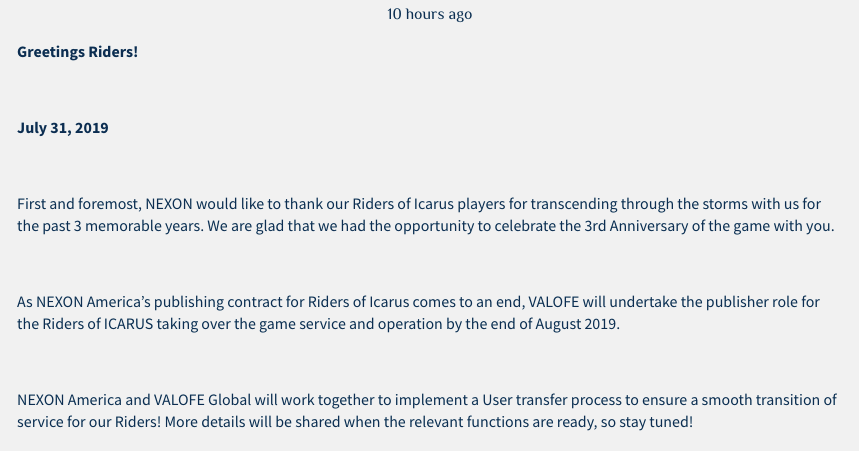 New publisher for Riders of Icarus   Lord Murasama •
