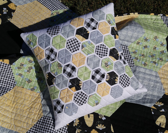 Henry Glass & Co. Sew Bee It fabric Modern hexies pillow