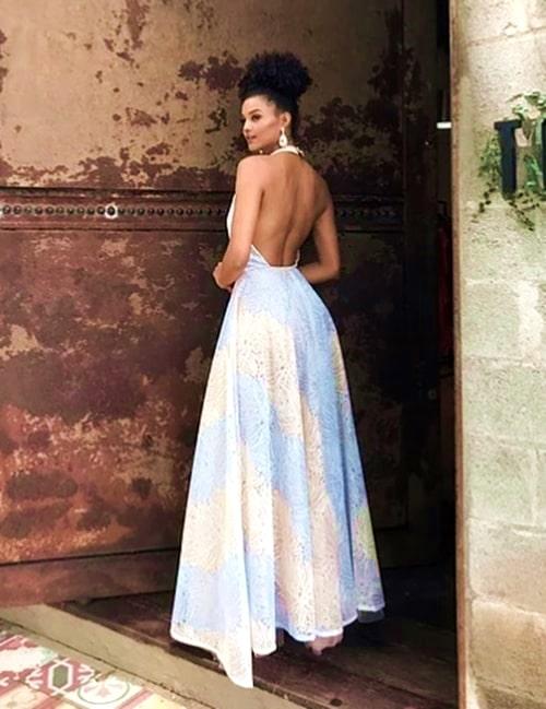 vestido longo estilo princesa frente única