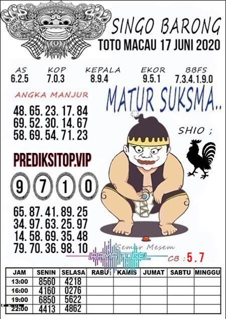 Prediksi Toto Macau Rabu 17 Juni 2020 - Singo Barong