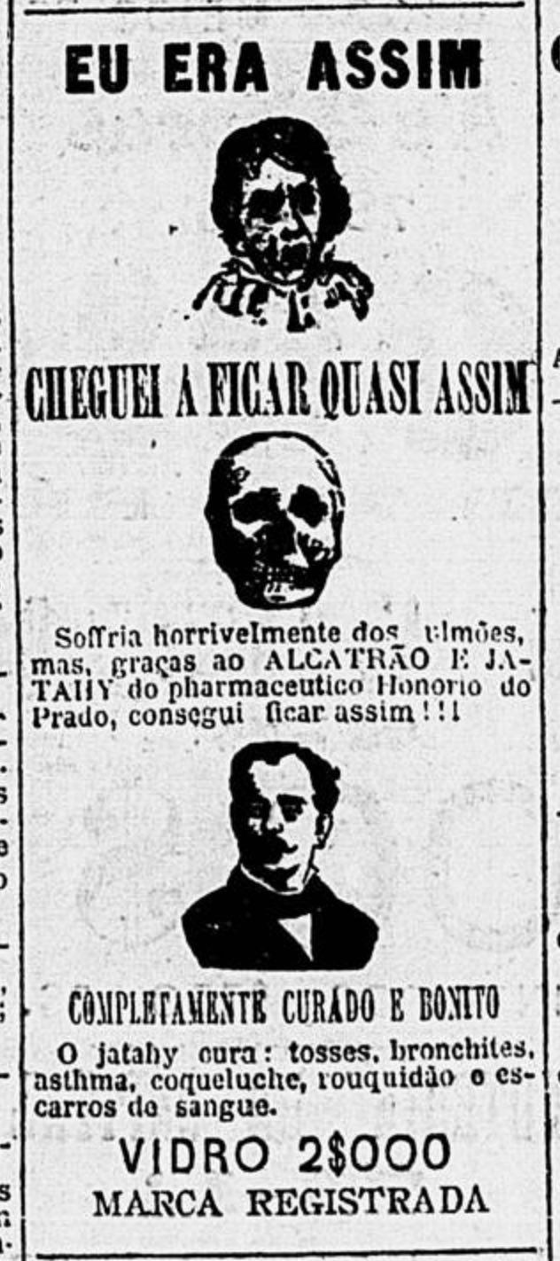 Anúncio veiculado em 1901 com medicamento para cura de males do pulmão