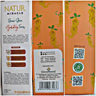 Natur Miracle Renew Skin Hydrating Toner Ingredients