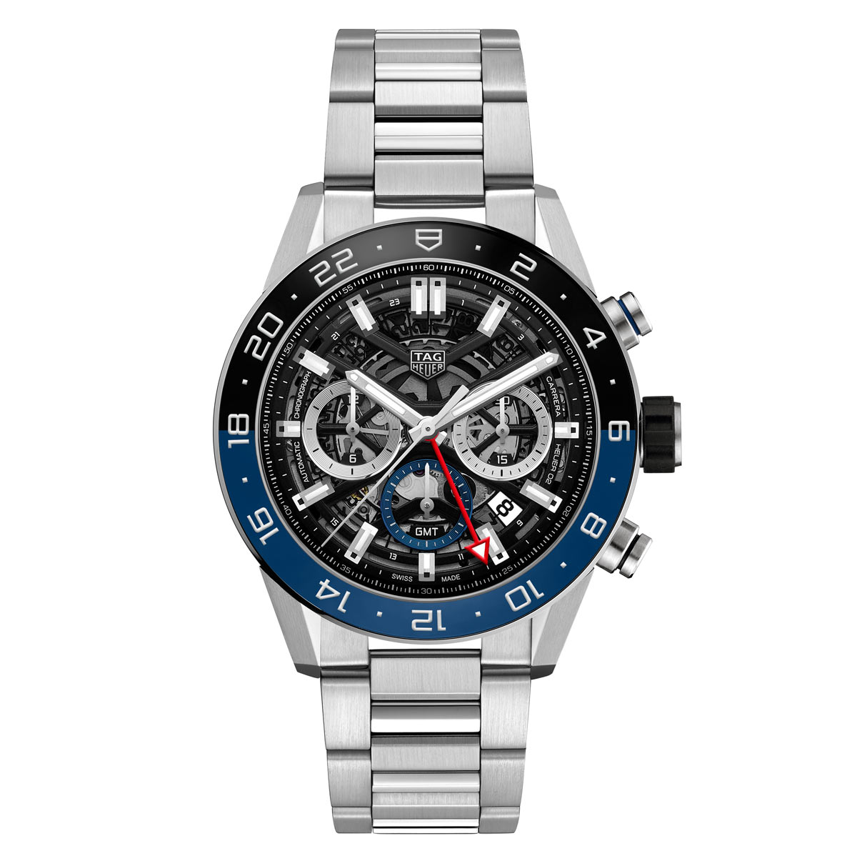 Tag heuer carrera chronograph gmt time and watches for Tag heuer c flex
