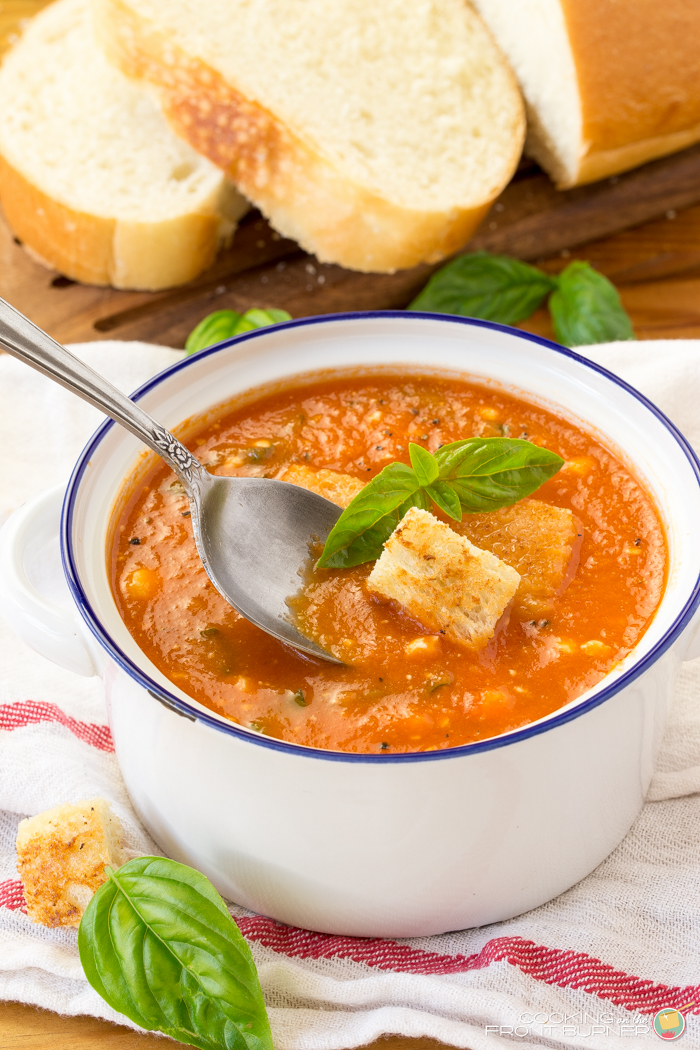 Easy Tomato Soup with Basil and Feta