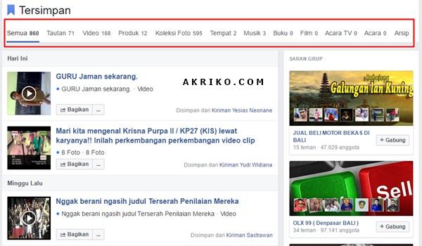 Cara Menyimpan Kiriman di Facebook ke Profil
