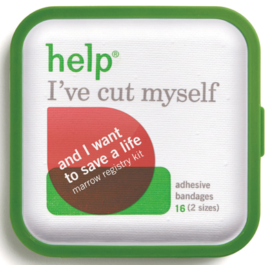help I've cut myself and I want to save a life - bandages and marrow registry kit