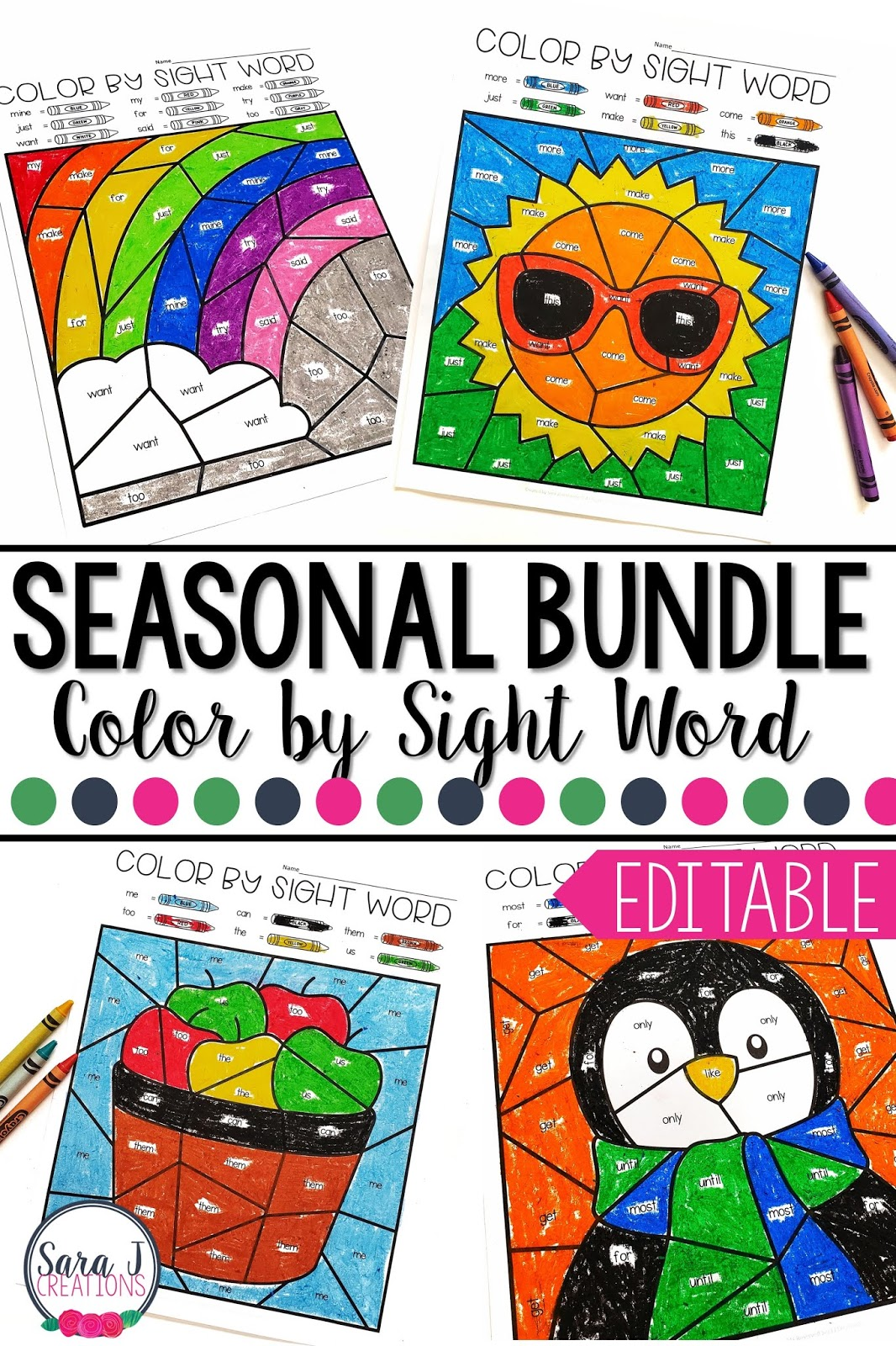 Editable Color by Sight Word Bundle!!!! Perfect for making sight word practice fun and meaningful for your students all year long. No matter what sight words your students are working on, you can create personalized coloring worksheets in a snap! Winter, spring, summer and fall coloring pages right at your fingertips.