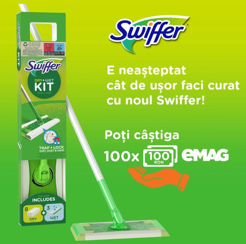 Concurs Swiffer - Castiga 100 Vouchere eMAG de 100 lei fiecare - castiga.net
