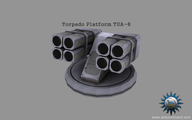 torpedo, missile, launcher, platform, 3d, model, solcommand, military, navy, naval, sci-fi, sci fi, tua-8, ship