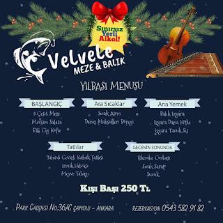 Velvele Meze & Balık Ankara Yılbaşı Programı 2020 Menüsü