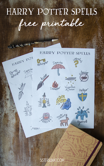 harry potter spells printables